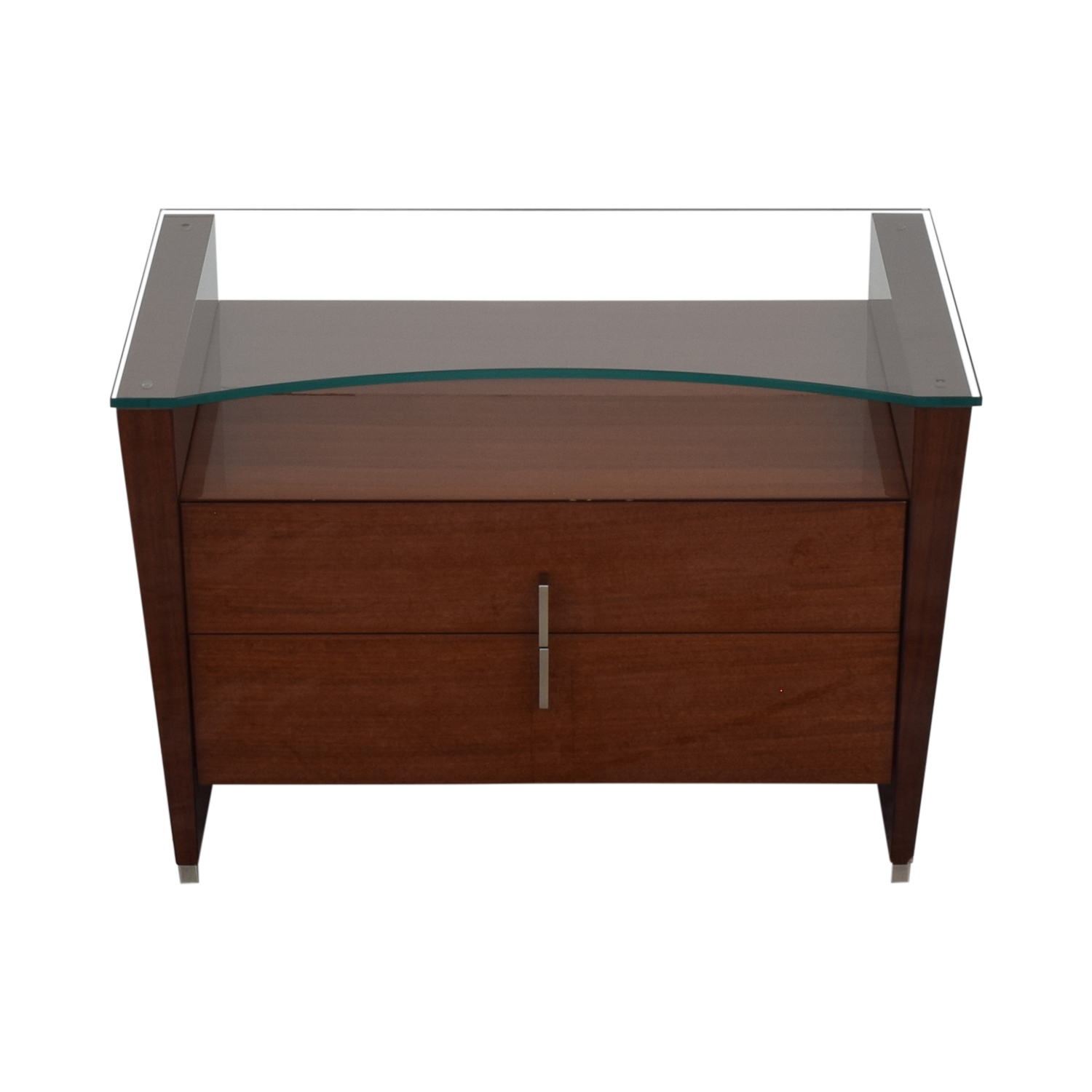 Dark Brown Nightstand with Transparent Shelf coupon