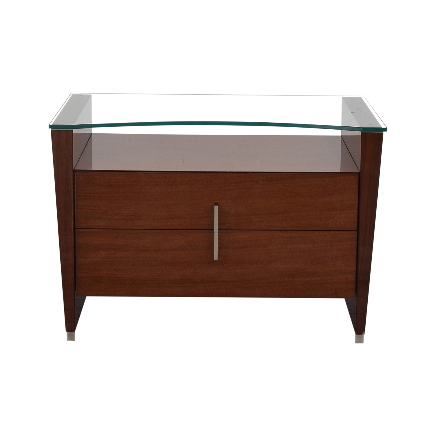 shop Dark Brown Nightstand with Transparent Shelf