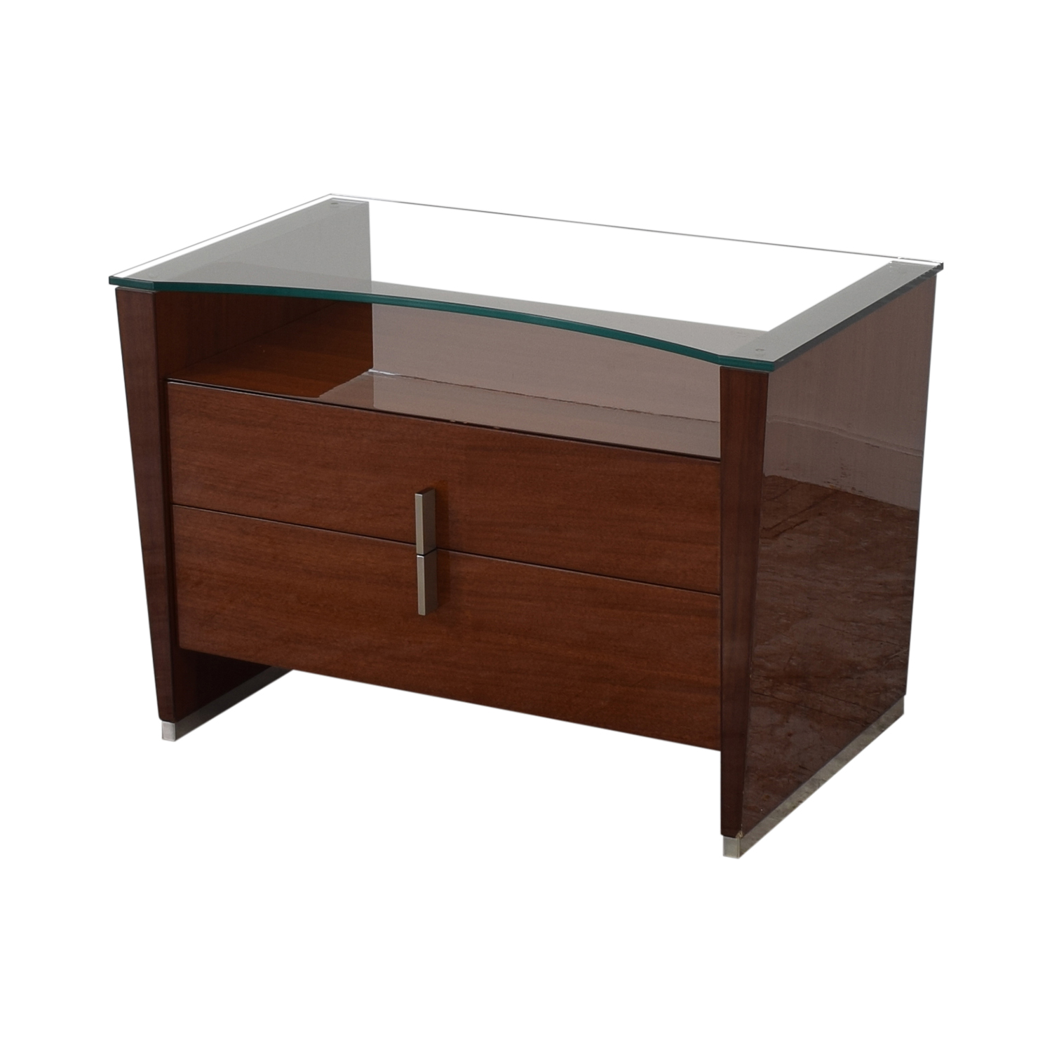 Dark Brown Nightstand with Transparent Shelf Tables