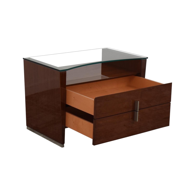 Dark Brown Nightstand with Transparent Shelf price