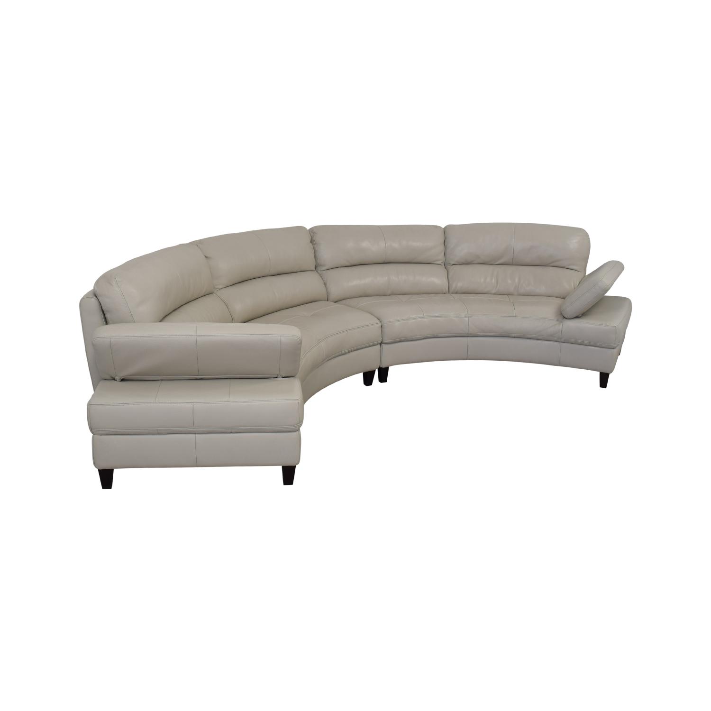 Macy's Macy's Leather Curved Sofa nj