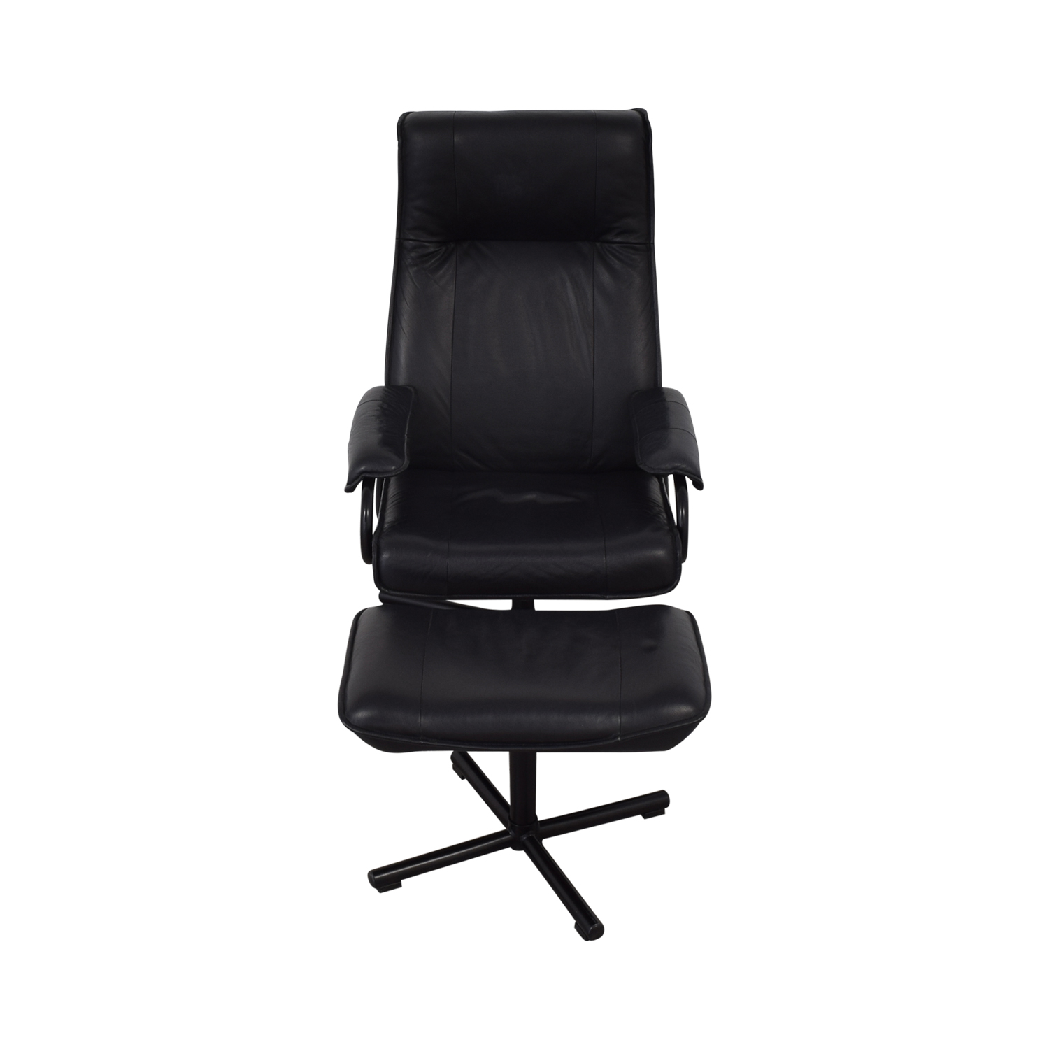 KEBE Kebe Danish Leather Lounge Chair and Footstool ct