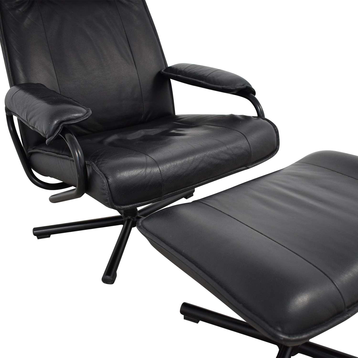 Kebe Danish Leather Lounge Chair and Footstool sale