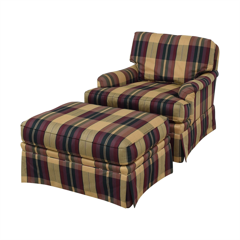 Vanguard Furniture Vanguard Furniture Plaid Fabiric Sofa and Matching Ottoman on sale
