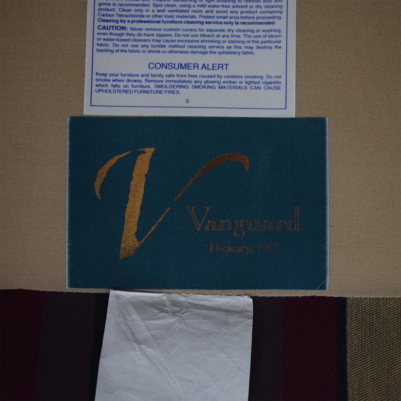 Vanguard Furniture Plaid Fabiric Sofa and Matching Ottoman Vanguard Furniture