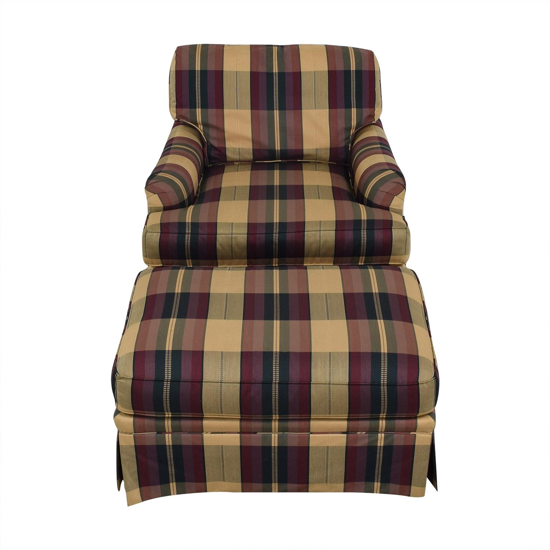 shop Vanguard Furniture Vanguard Furniture Plaid Fabiric Sofa and Matching Ottoman online