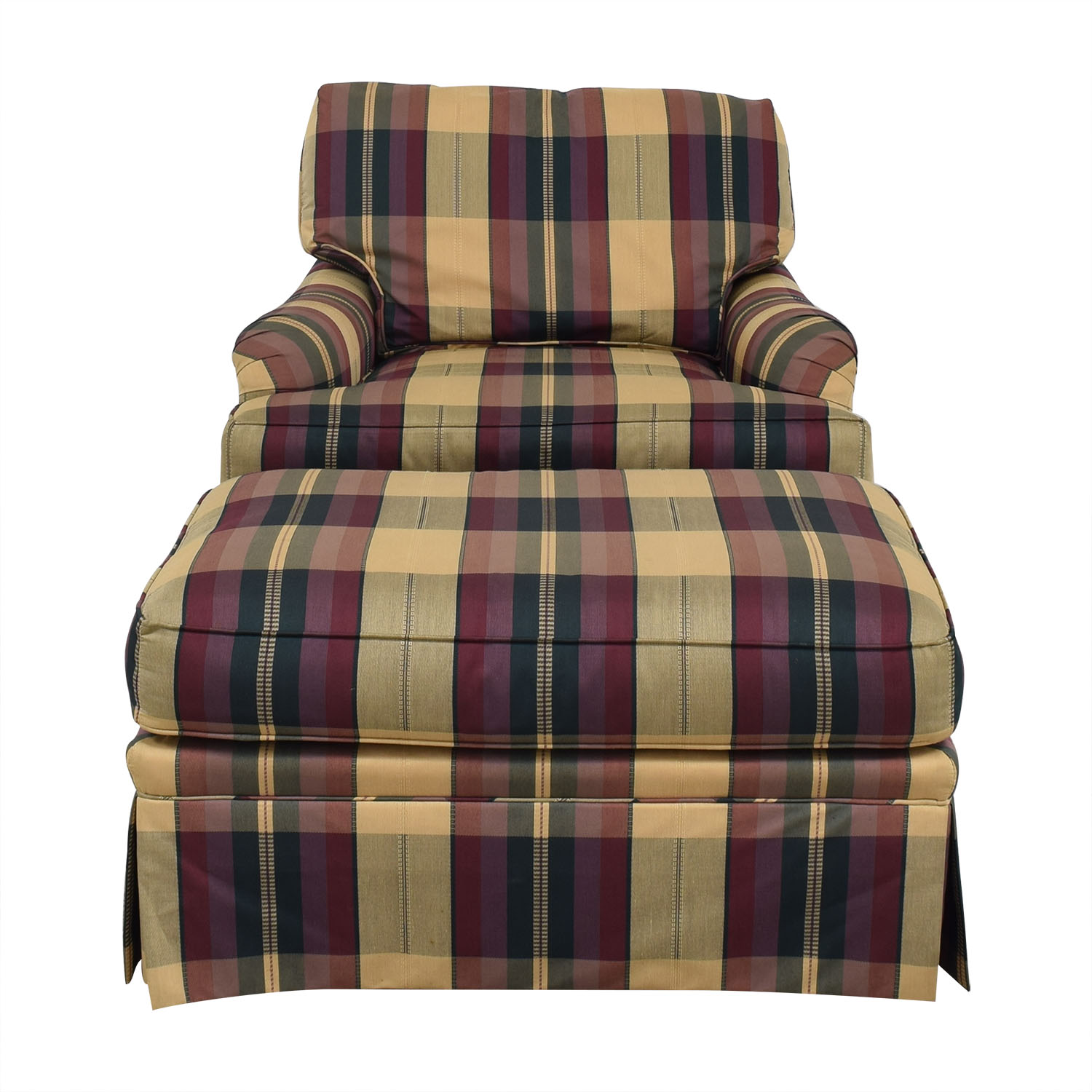 Vanguard Furniture Vanguard Furniture Plaid Fabiric Sofa and Matching Ottoman multi