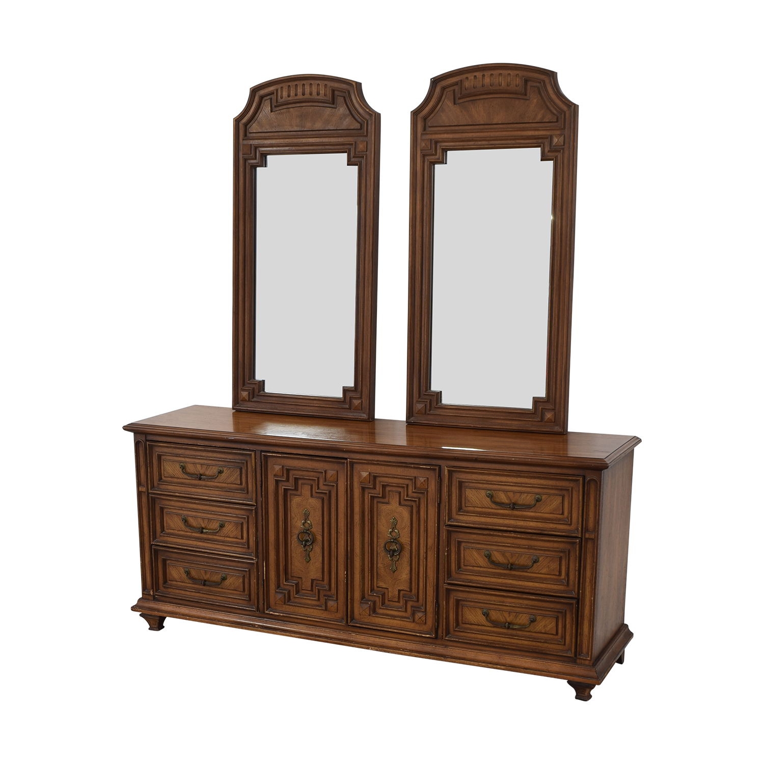 Vintage Dresser with Two Mirrors brown
