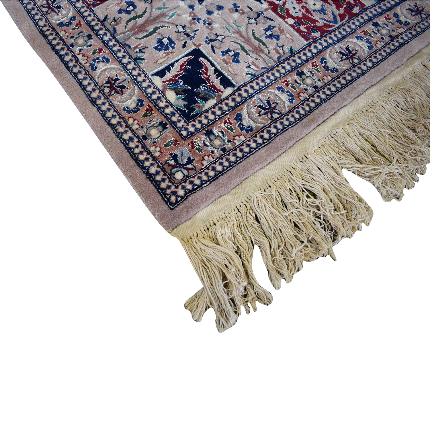 Multi-Colored Pakistani Rug with Fringe used