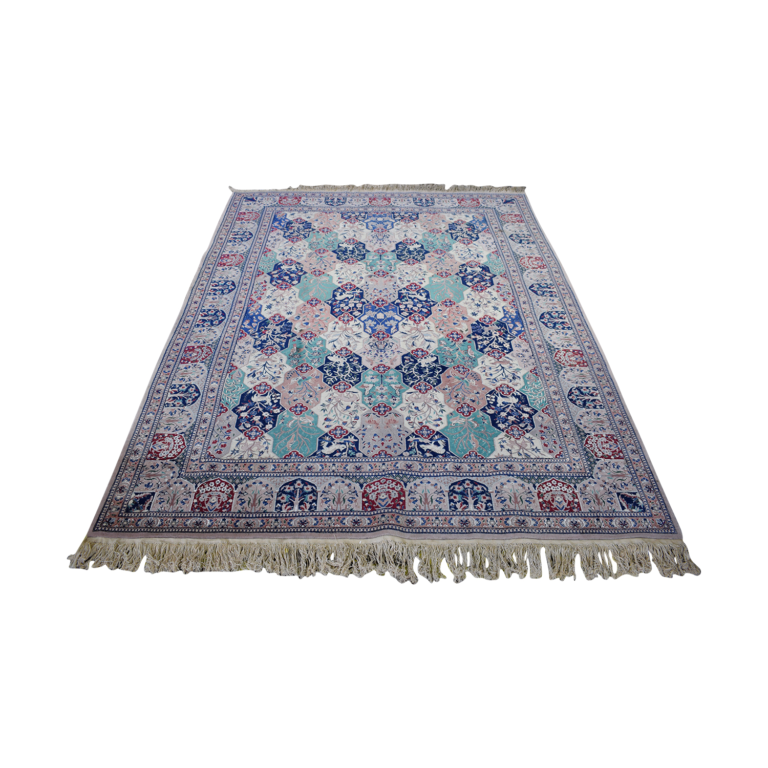 Multi-Colored Pakistani Rug with Fringe sale