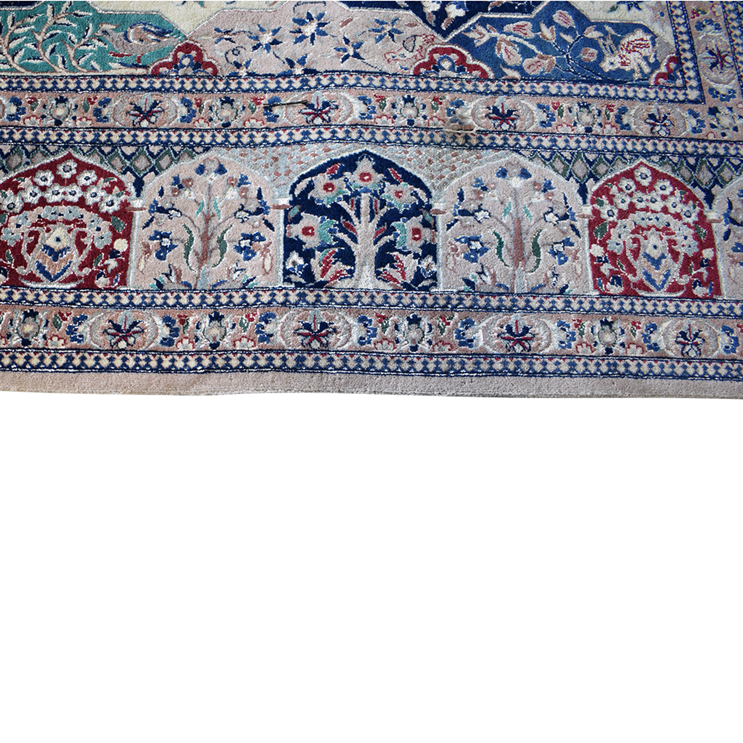 buy Multi-Colored Pakistani Rug with Fringe