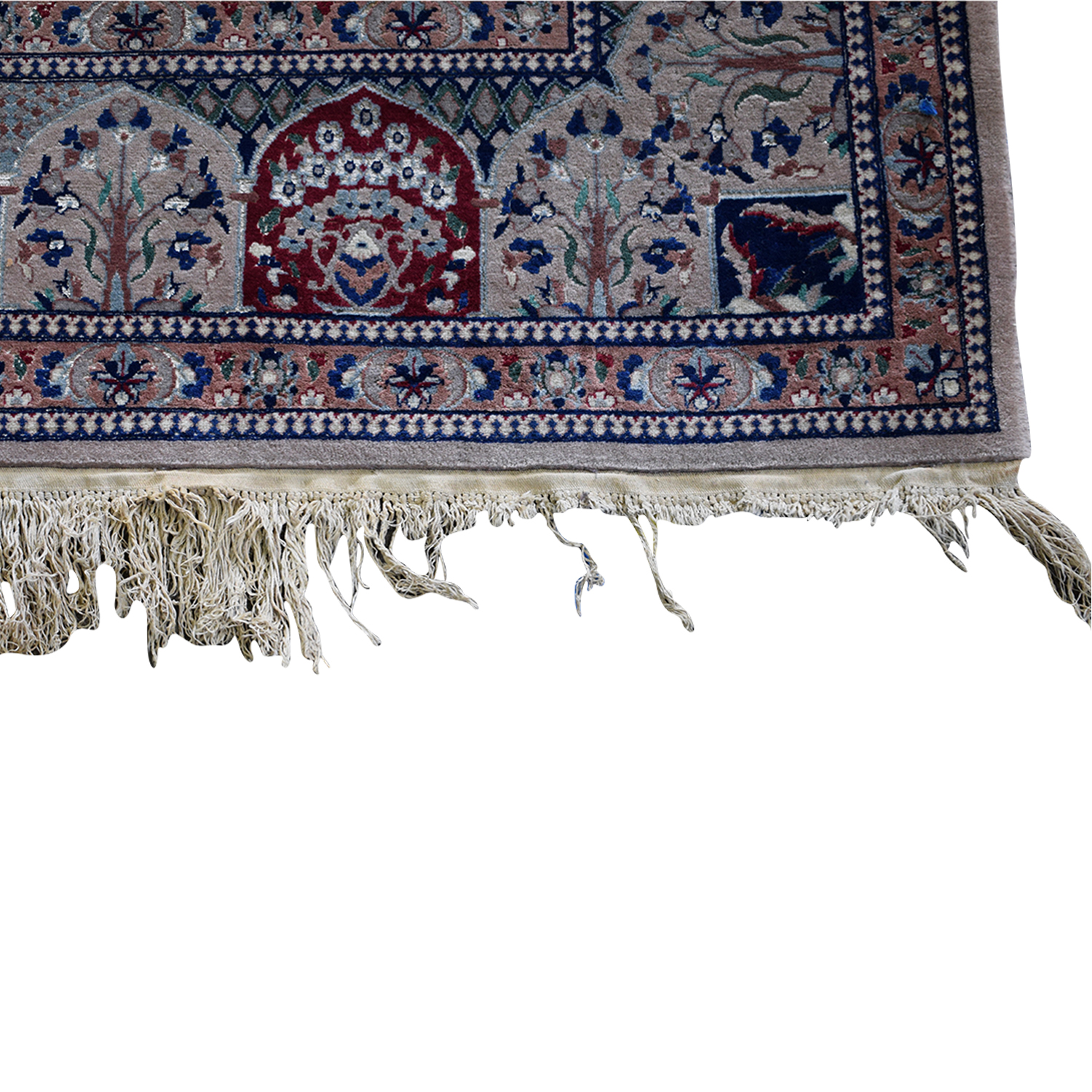 Multi-Colored Pakistani Rug with Fringe nyc