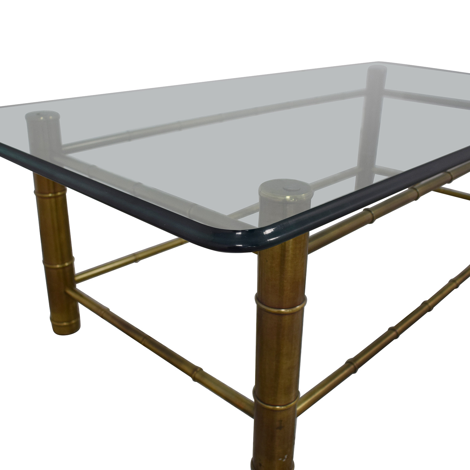 Vintage Beveled Glass Top Coffee Table sale