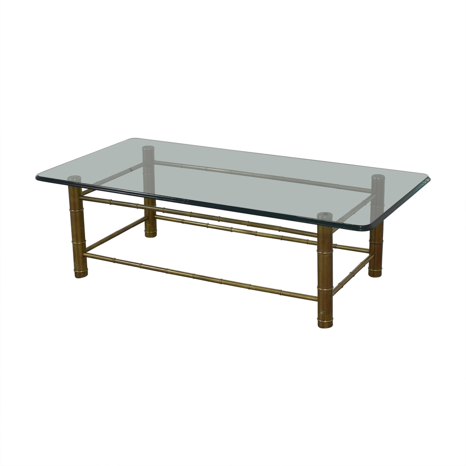 Vintage Beveled Glass Top Coffee Table
