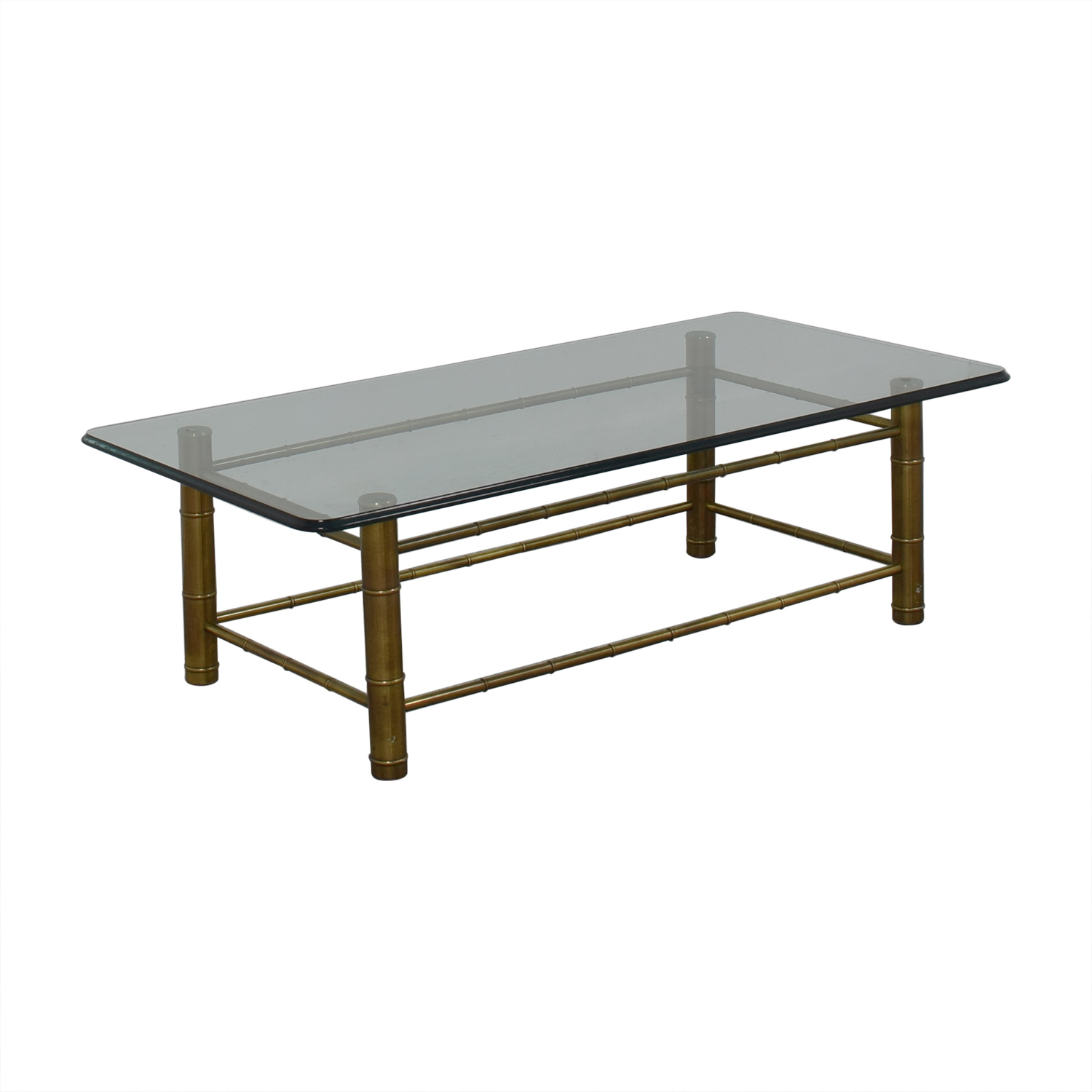 Vintage Beveled Glass Top Coffee Table for sale