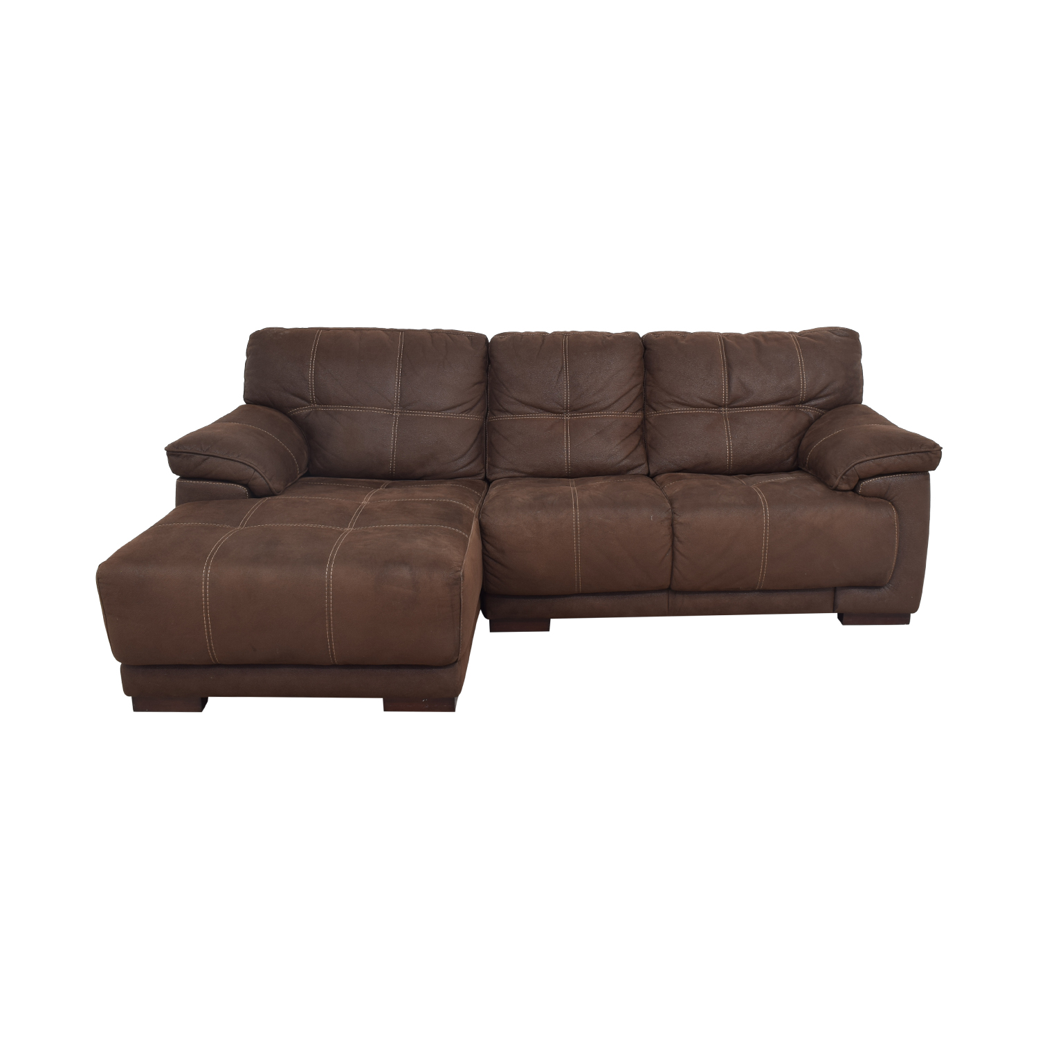 low priced 83d24 6821c 65% OFF - Raymour & Flanigan Raymour & Flanigan Microfiber Sectional Sofa /  Sofas