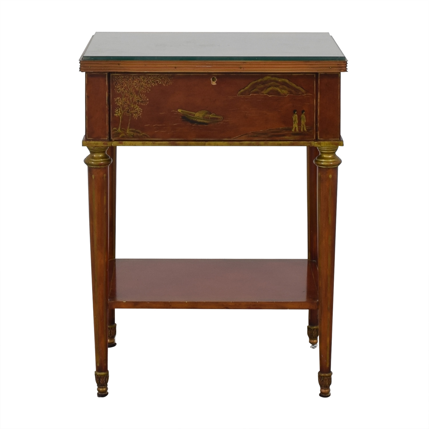 Safavieh Safavieh Glass Top Side Table with Drawer second hand