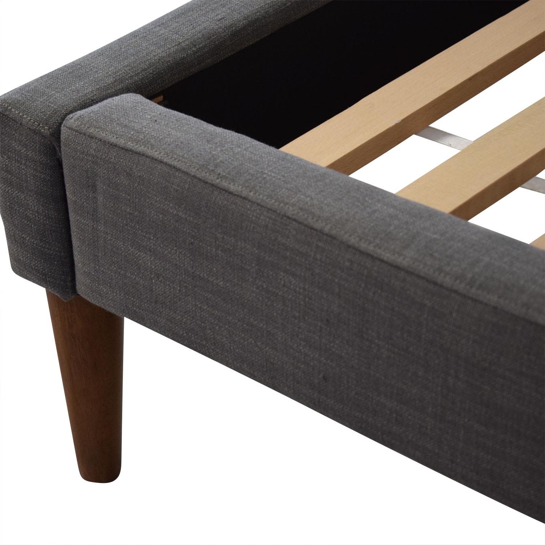 West Elm West Elm Grid Tufted Upholstered Tapered Leg Full Bed