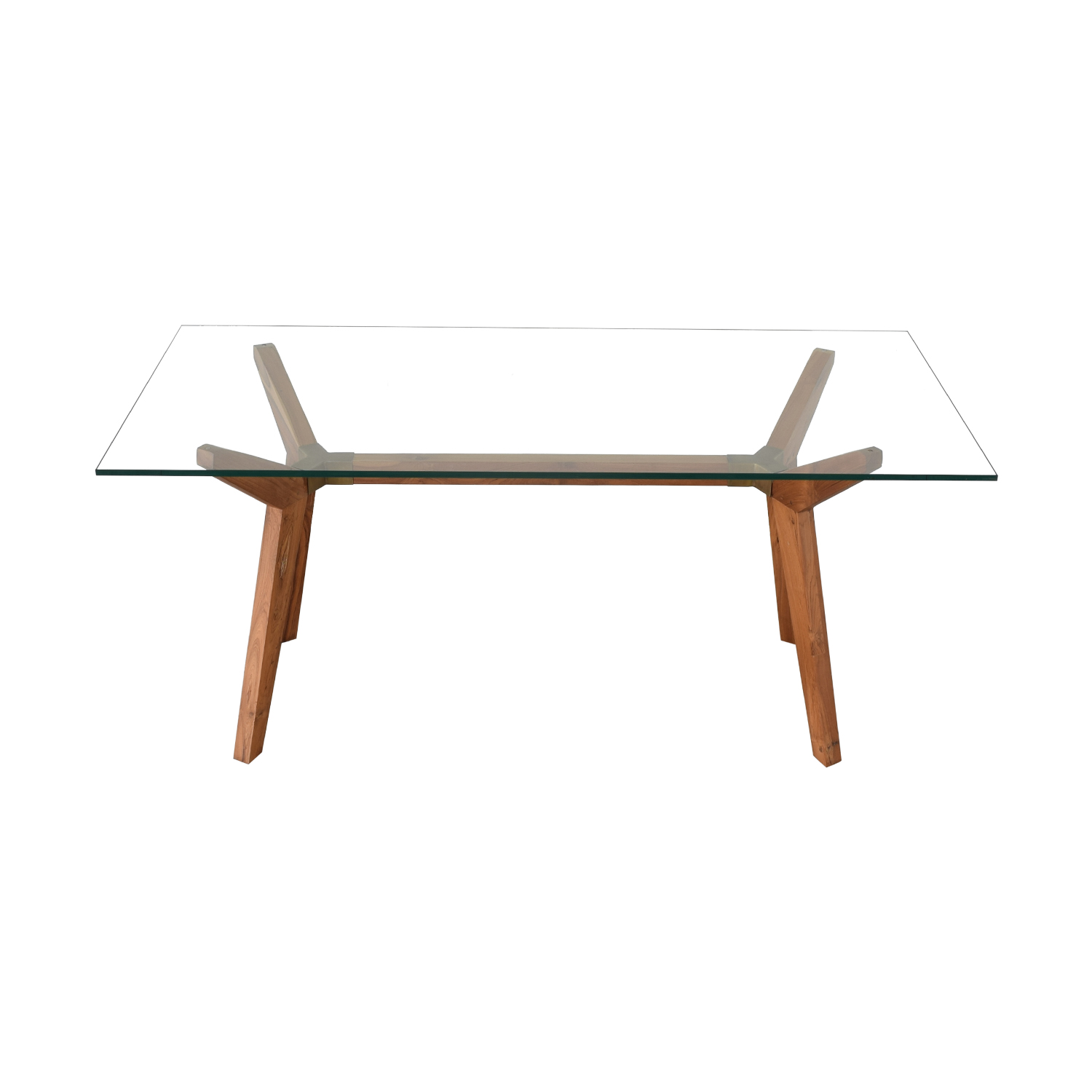 Crate & Barrel Crate & Barrel Strut Table clear and brown