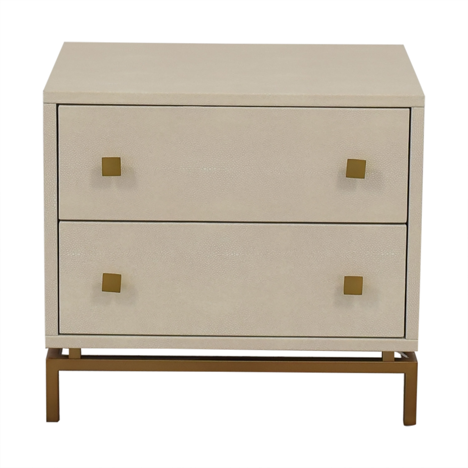 CB2 Ivory Shagreen Embossed Nightstand / Tables