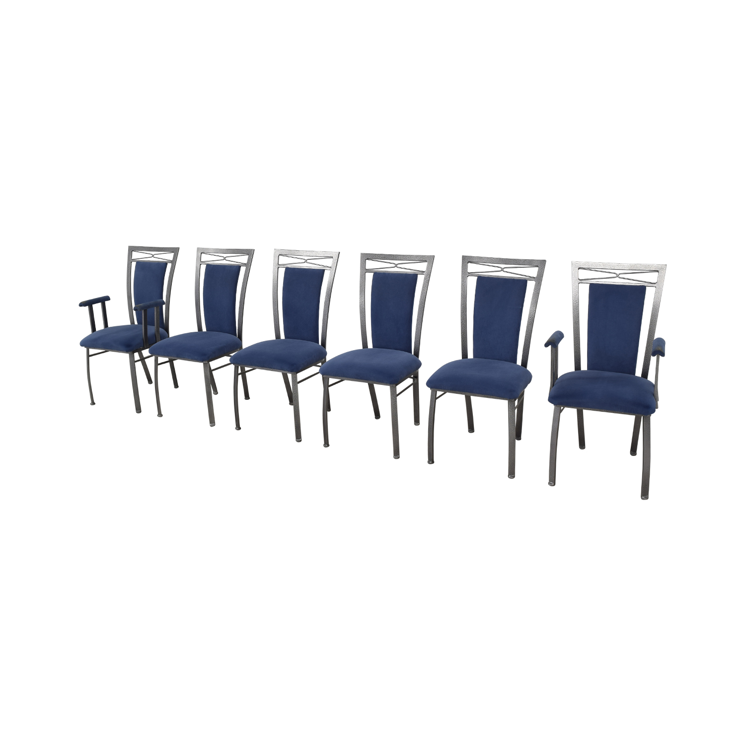 Precision Furniture Precision Furniture Dining Chairs blue and silver