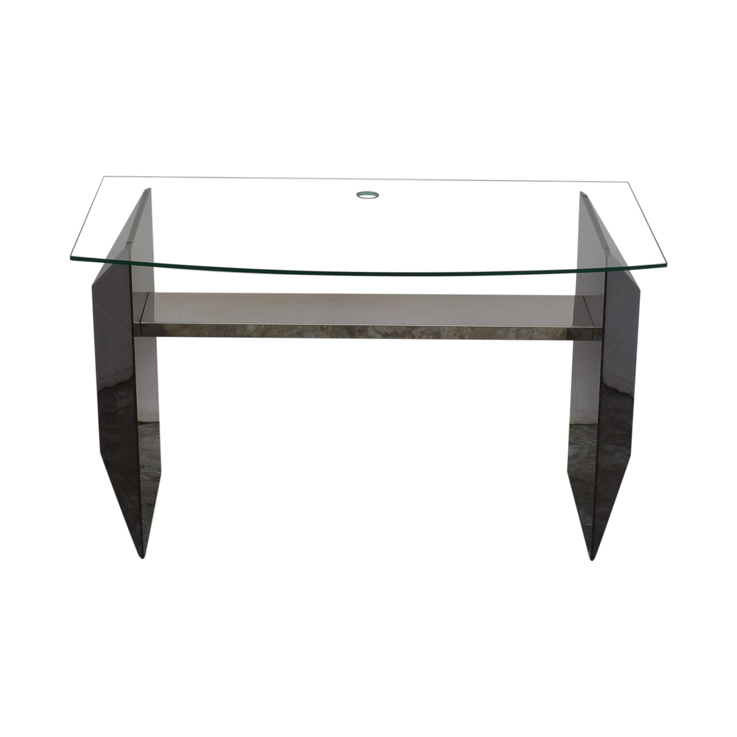 Glass Home Office Desk black and clear