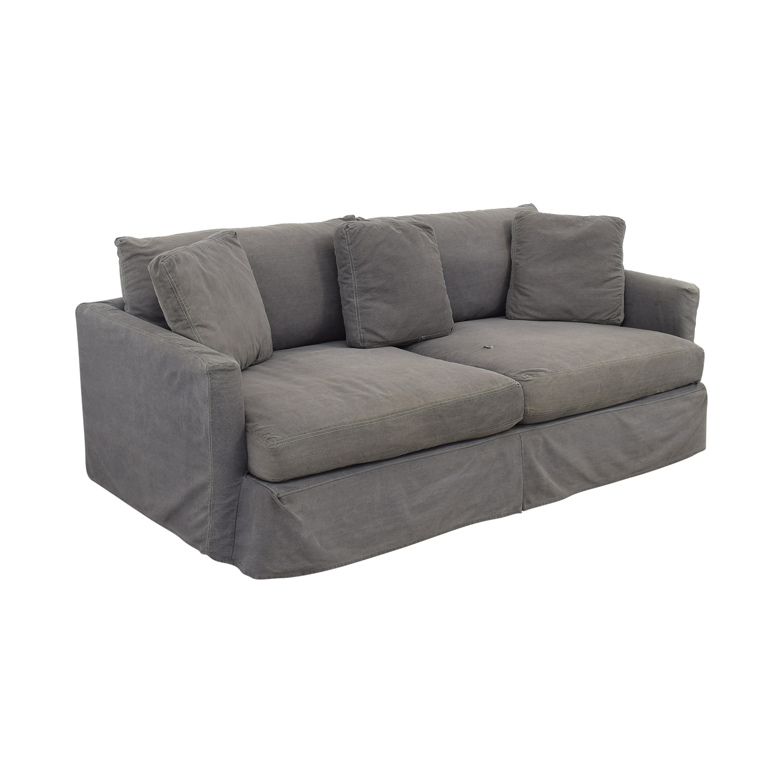 Crate & Barrel Crate & Barrel Lounge II Petite Slipcovered Sofa blue