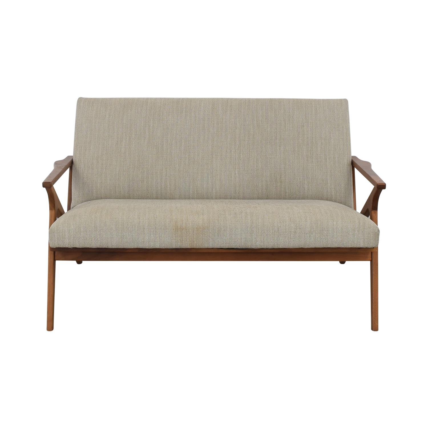 Crate & Barrel Cavett Frame Wood Love Seat Crate & Barrel