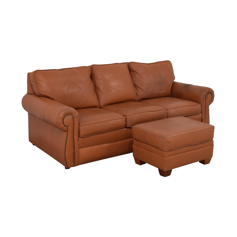 Ethan Allen Ethan Allen Three Cushion Sofa with Ottoman pa