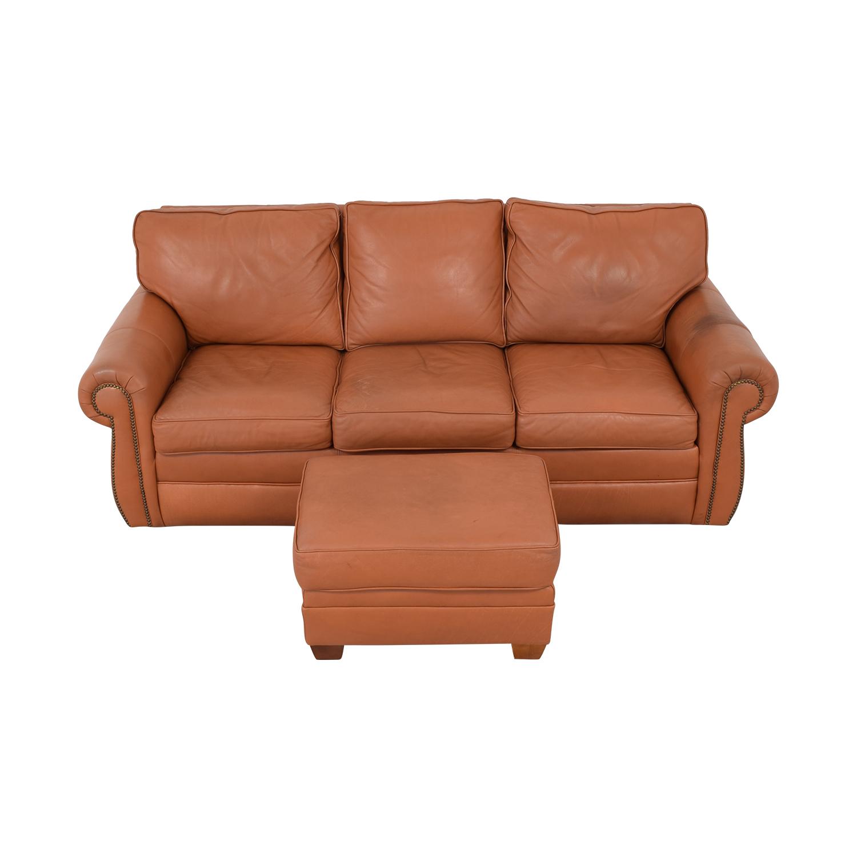 Ethan Allen Ethan Allen Three Cushion Sofa with Ottoman for sale