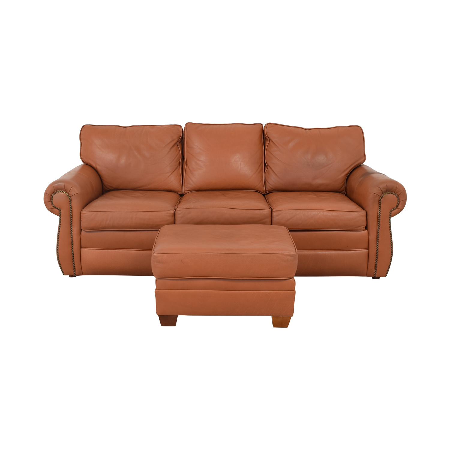 buy Ethan Allen Three Cushion Sofa with Ottoman Ethan Allen Classic Sofas