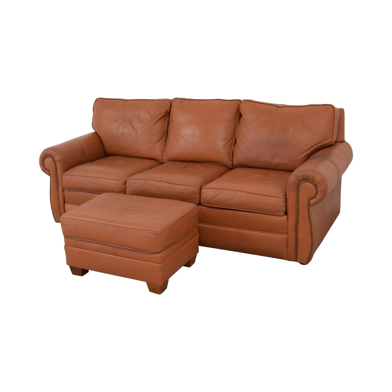 Ethan Allen Ethan Allen Three Cushion Sofa with Ottoman on sale