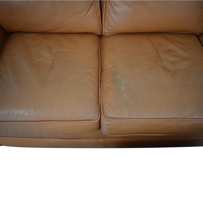 Ethan Allen Three Cushion Sofa with Ottoman / Sofas