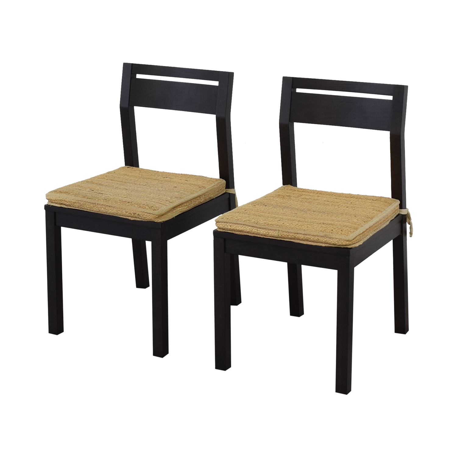 West Elm West Elm Dining Chairs with Woven Cushions dark brown & tan