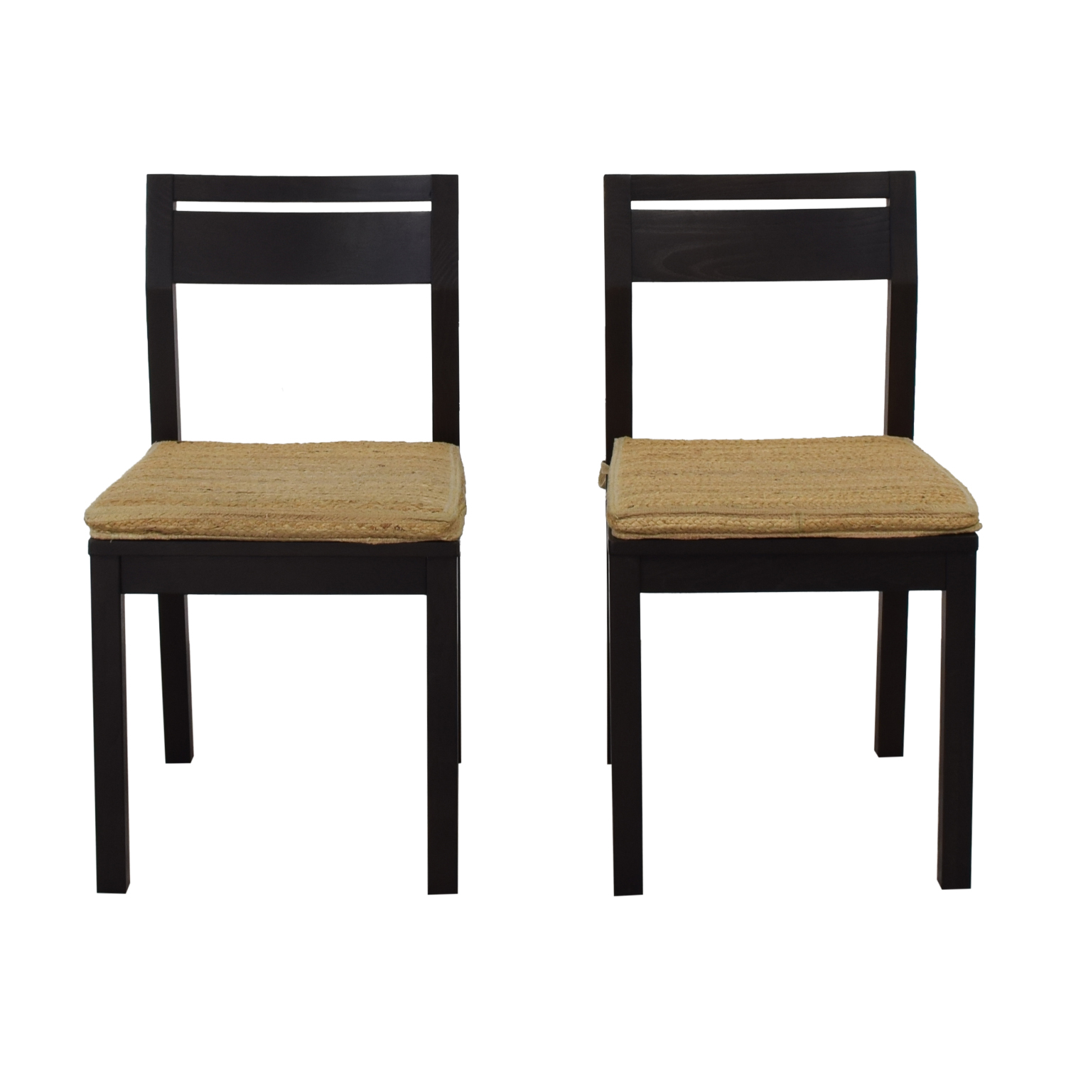 West Elm Dining Chairs with Woven Cushions / Chairs