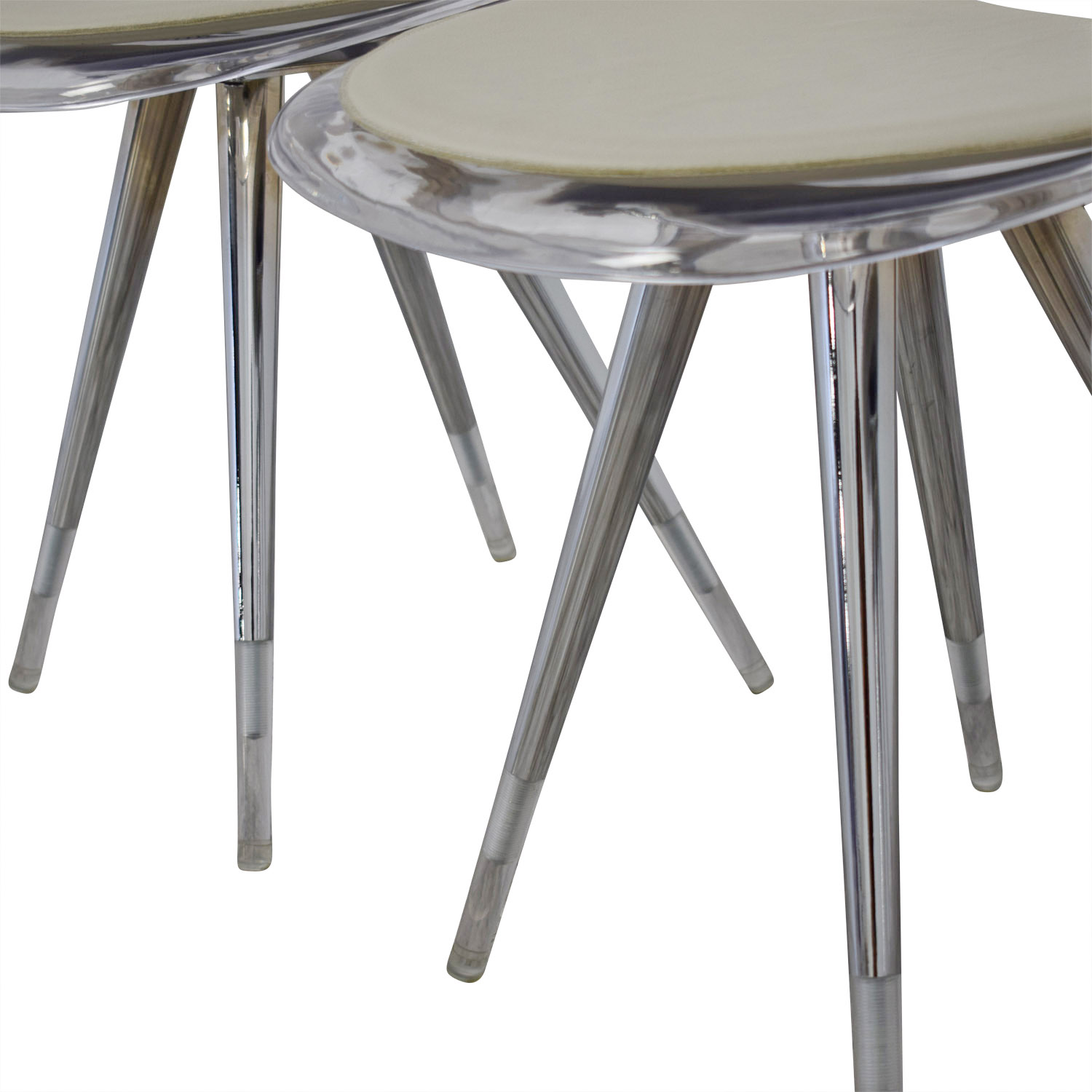 Cite NYC Lucite Dining Chairs with Custom Cushions Cite NYC