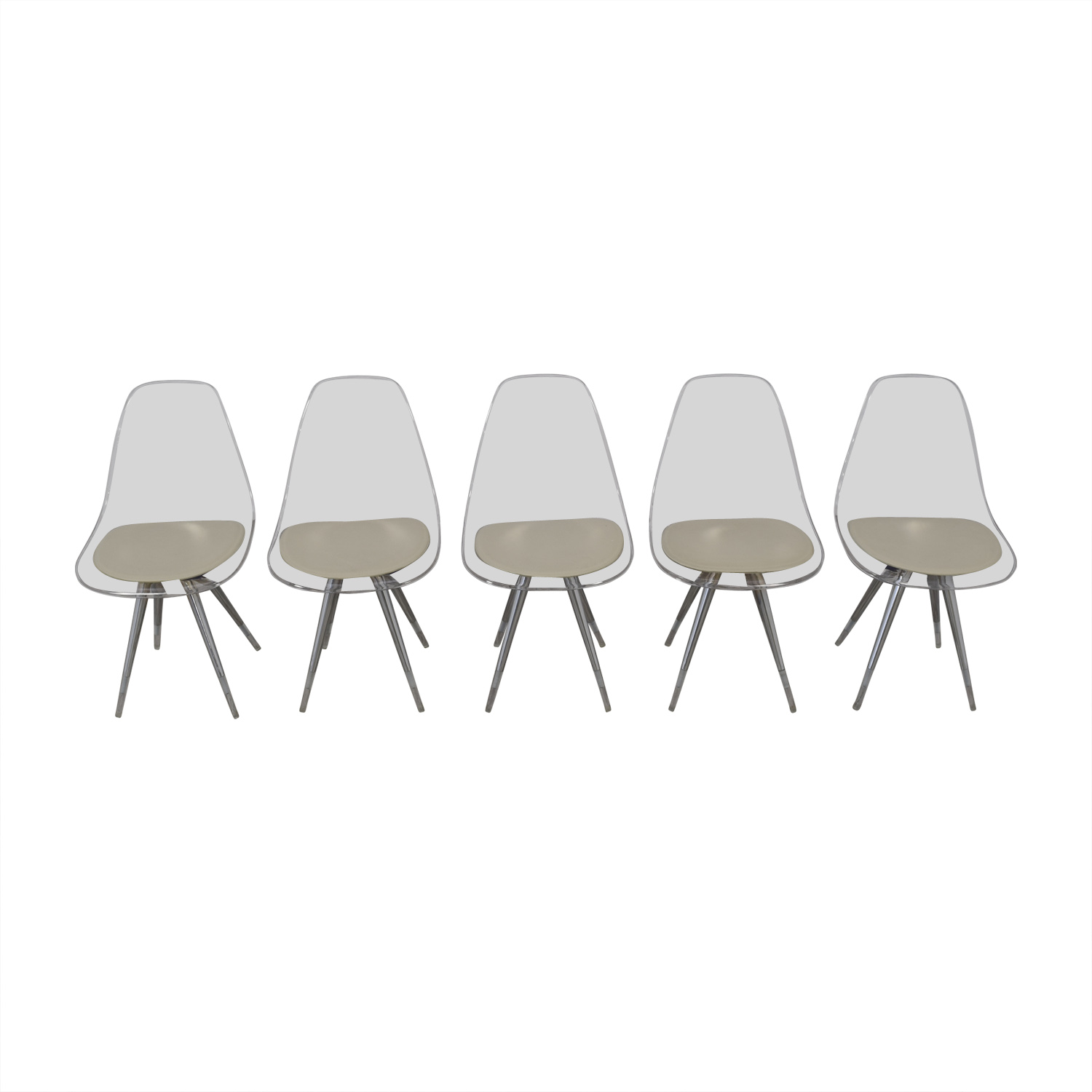 shop Cite NYC Lucite Dining Chairs with Custom Cushions Cite NYC Dining Chairs