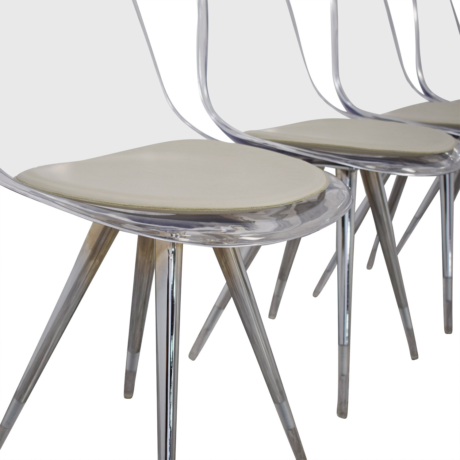 Cite NYC Cite NYC Lucite Dining Chairs with Custom Cushions for sale