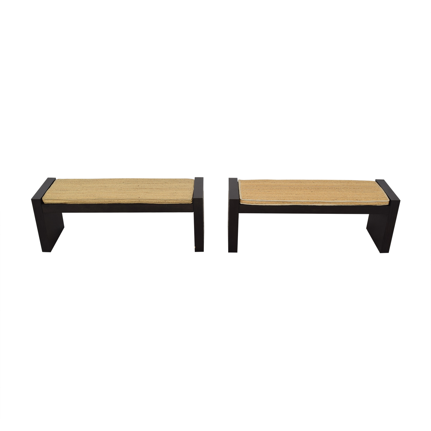 West Elm Terra Dining Benches with Woven Cushions West Elm