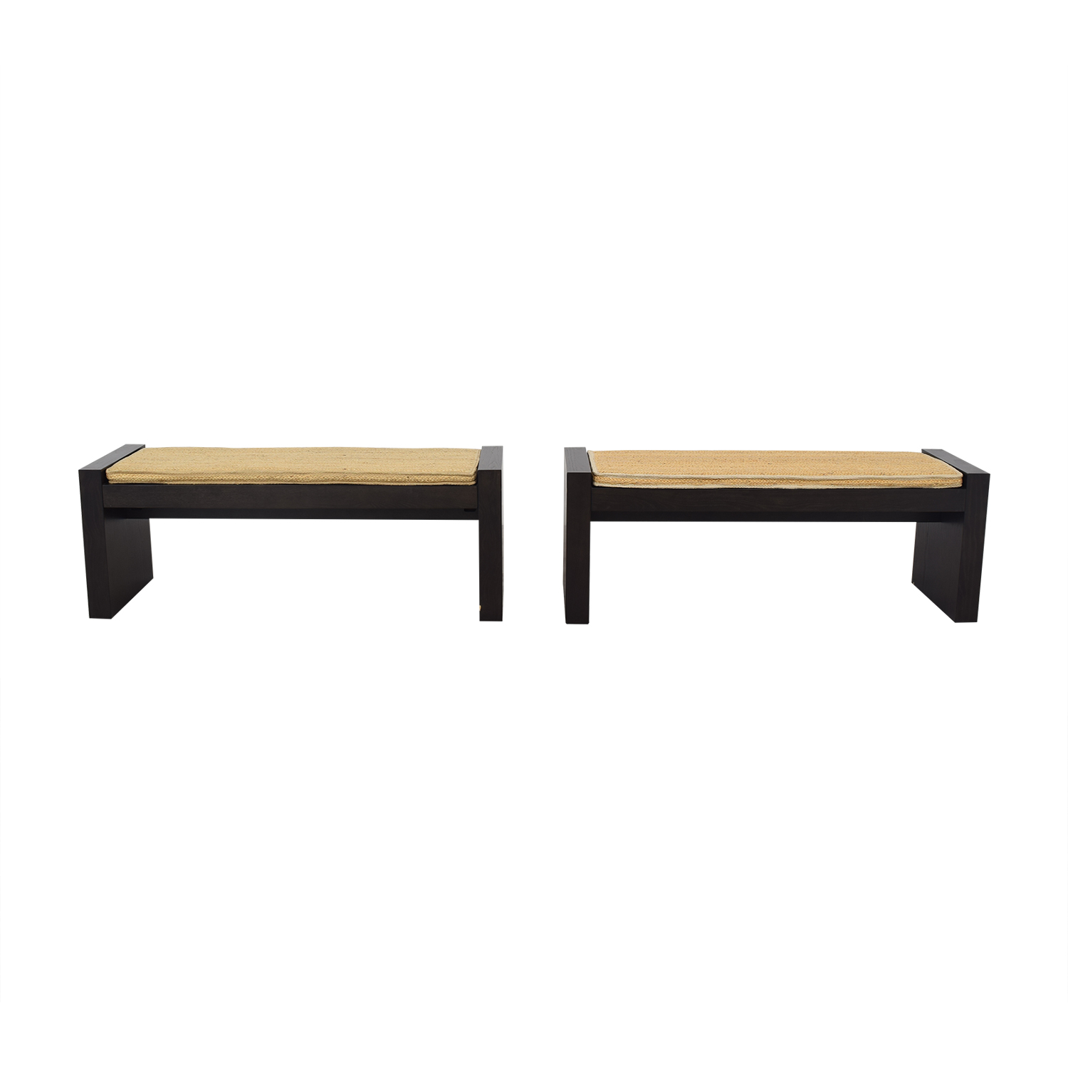 West Elm Terra Dining Benches with Woven Cushions / Benches