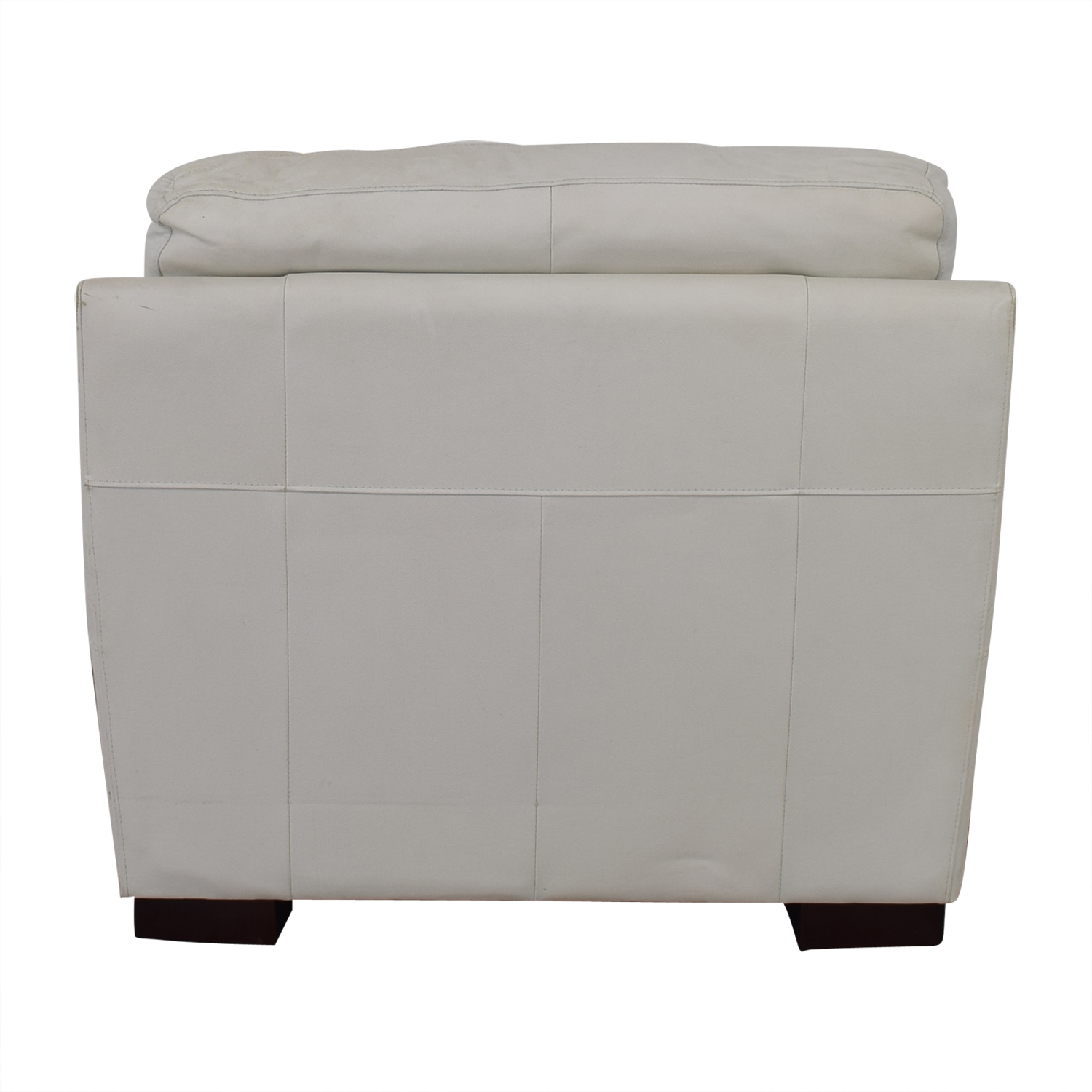 Overstuffed White Armchair discount