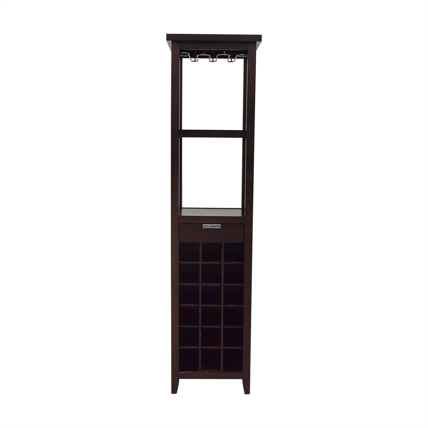 Crate & Barrel Crate & Barrel Wine Stand with Storage dark brown