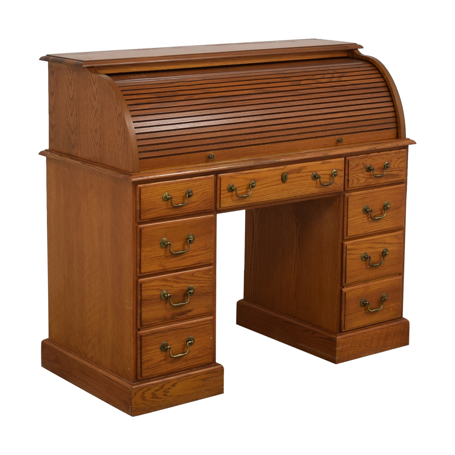 Seven Drawer Roll Top Desk brown