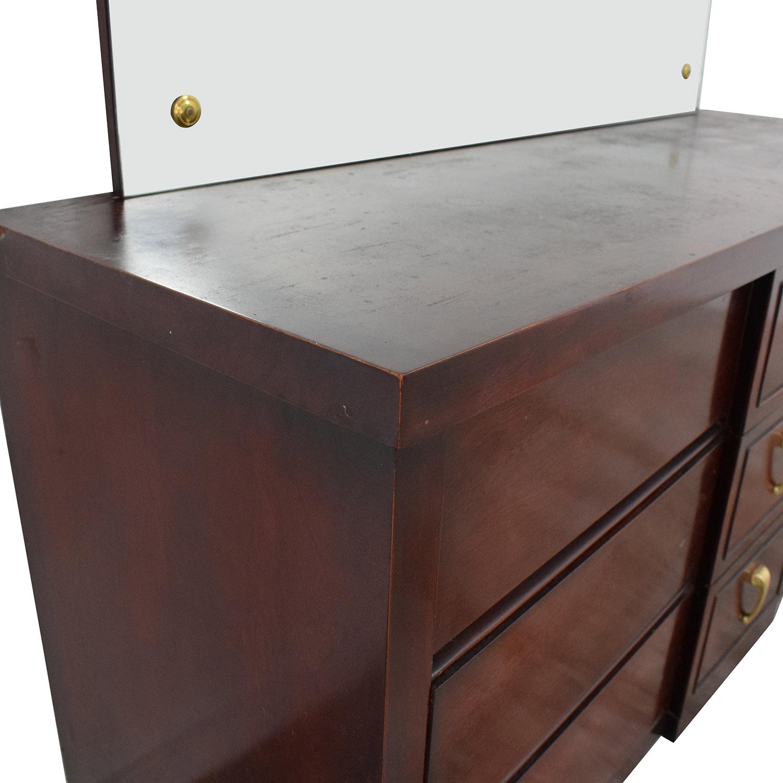 Scandinavian Mid Century Modern Dresser with Mirror dark brown