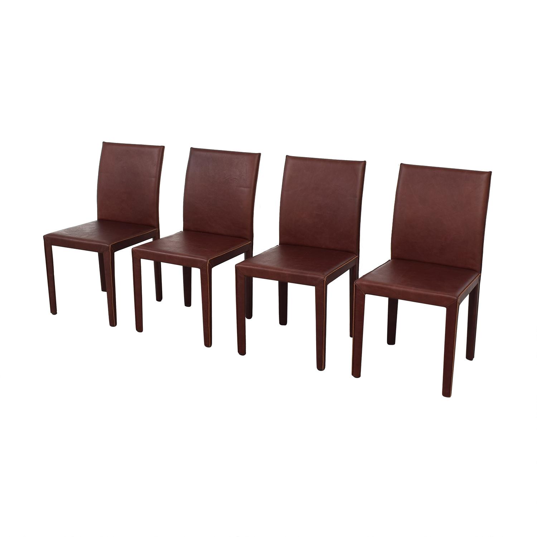 Crate & Barrel Crate & Barrel Folio Merlot Dining Chairs dark red