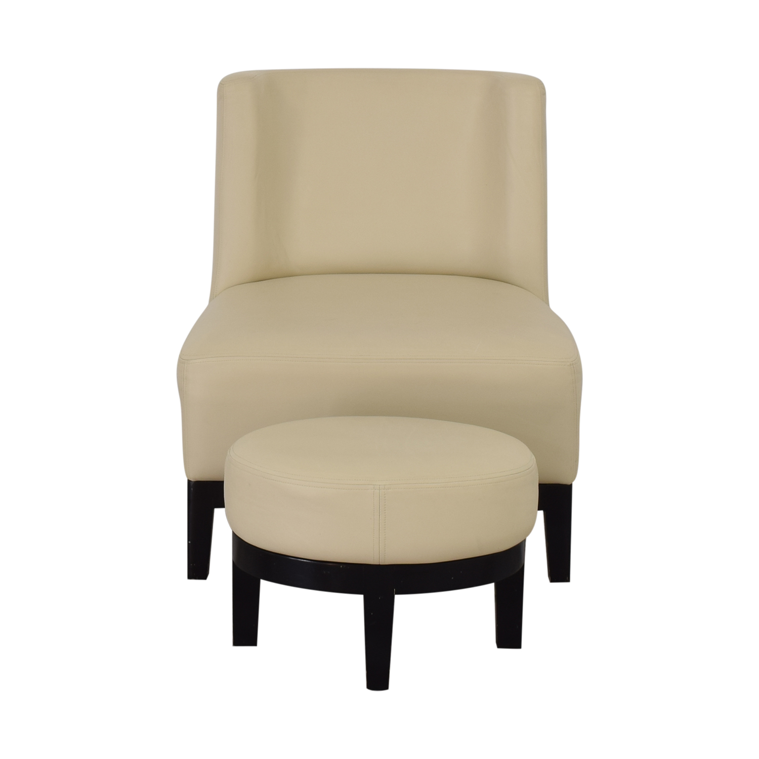 80 Off Armless Lounge Chair And Footstool Chairs
