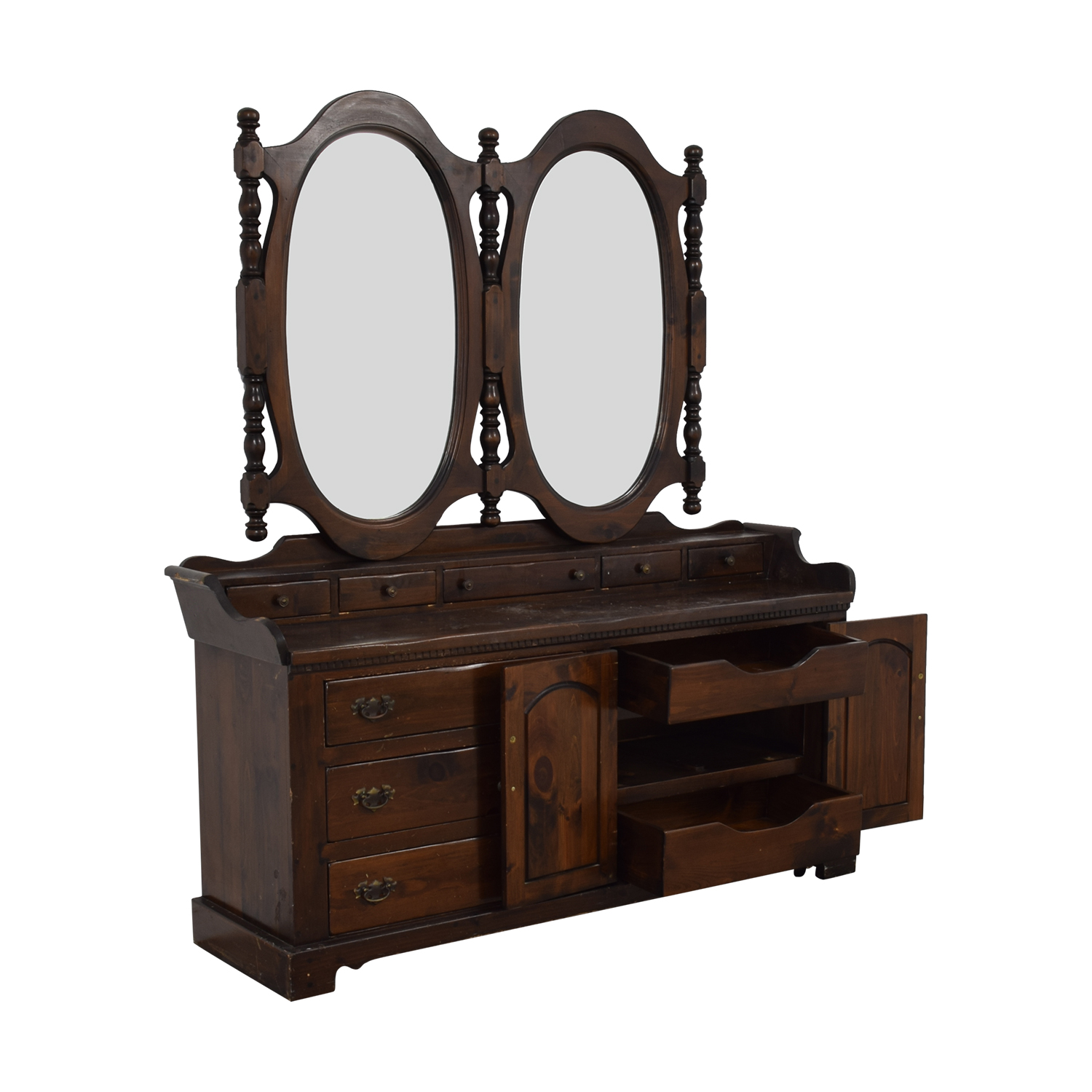 shop Antique Dresser with Twin Mirrors  Dressers