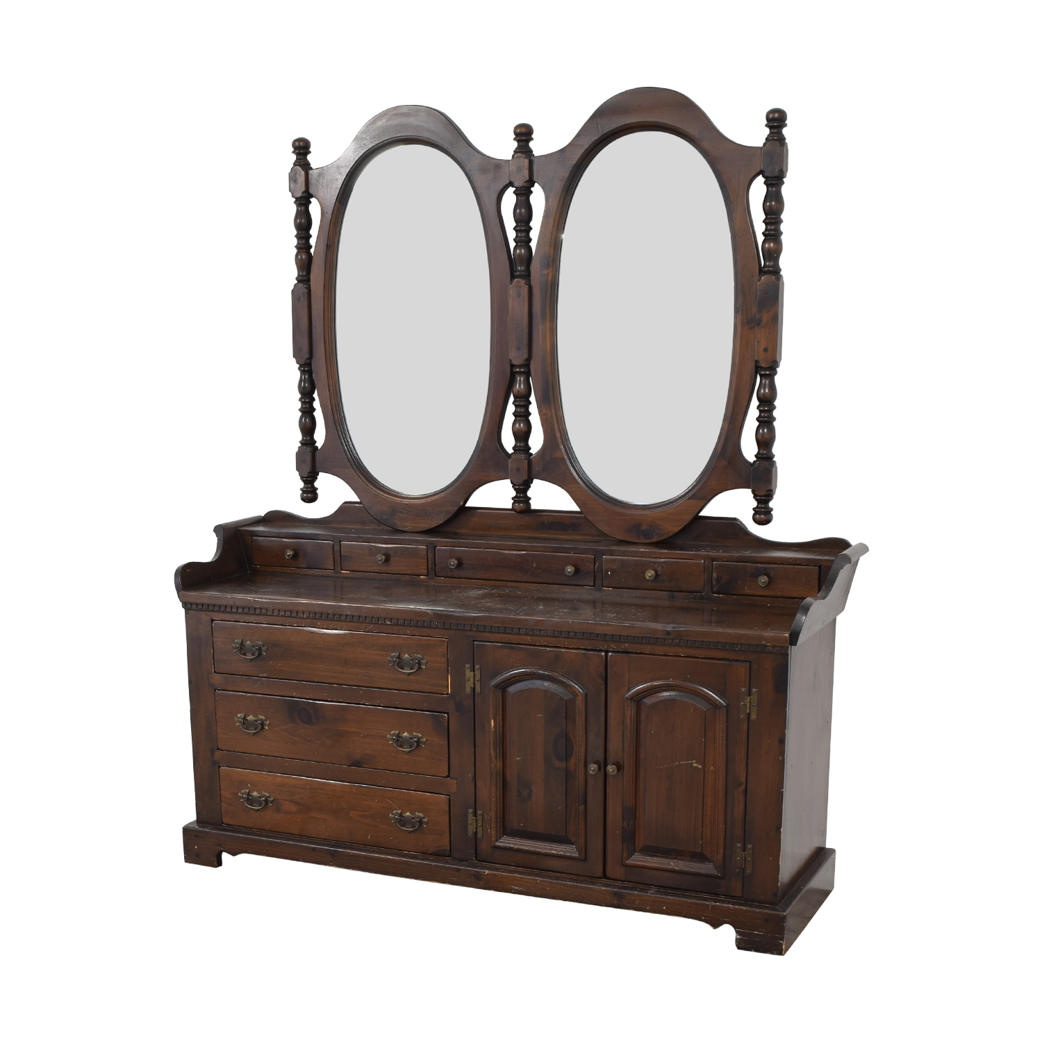 Antique Dresser with Twin Mirrors second hand