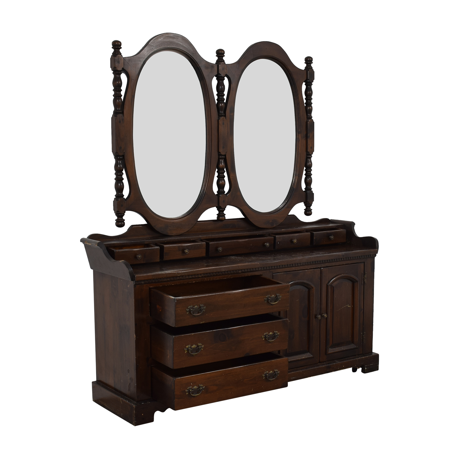 shop Antique Dresser with Twin Mirrors