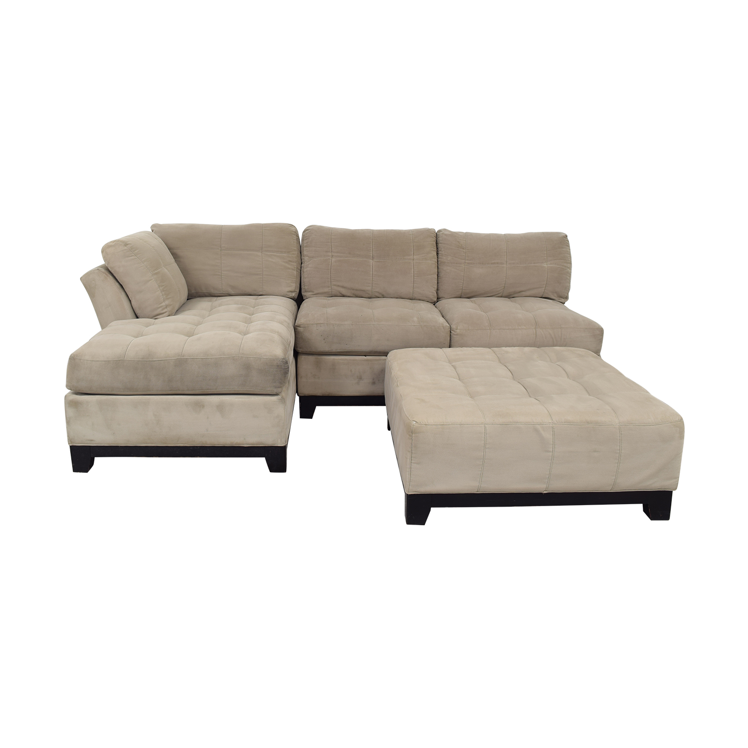 Cindy Crawford Home Cindy Crawford Home Microfiber Sectional with Ottoman second hand